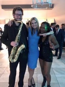 PICTURED: (right to left) Saxophone player, Faye Maguire from Brunel and Tina Turner tribute
