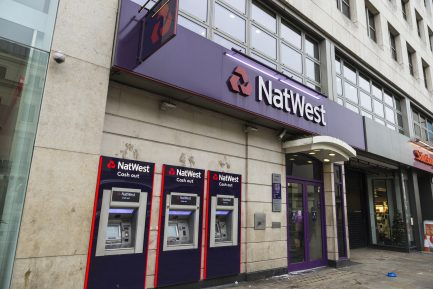 London, United Kingdom - January 1, 2017: Bank branch and three ATM of Natwest Bank in London, England, United Kingdom