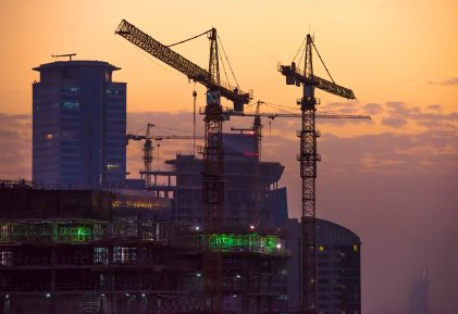 Construction site in Dubai at sunset