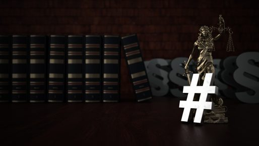 law books with hashtag