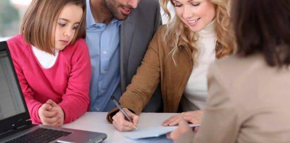 Insurance broker working with family