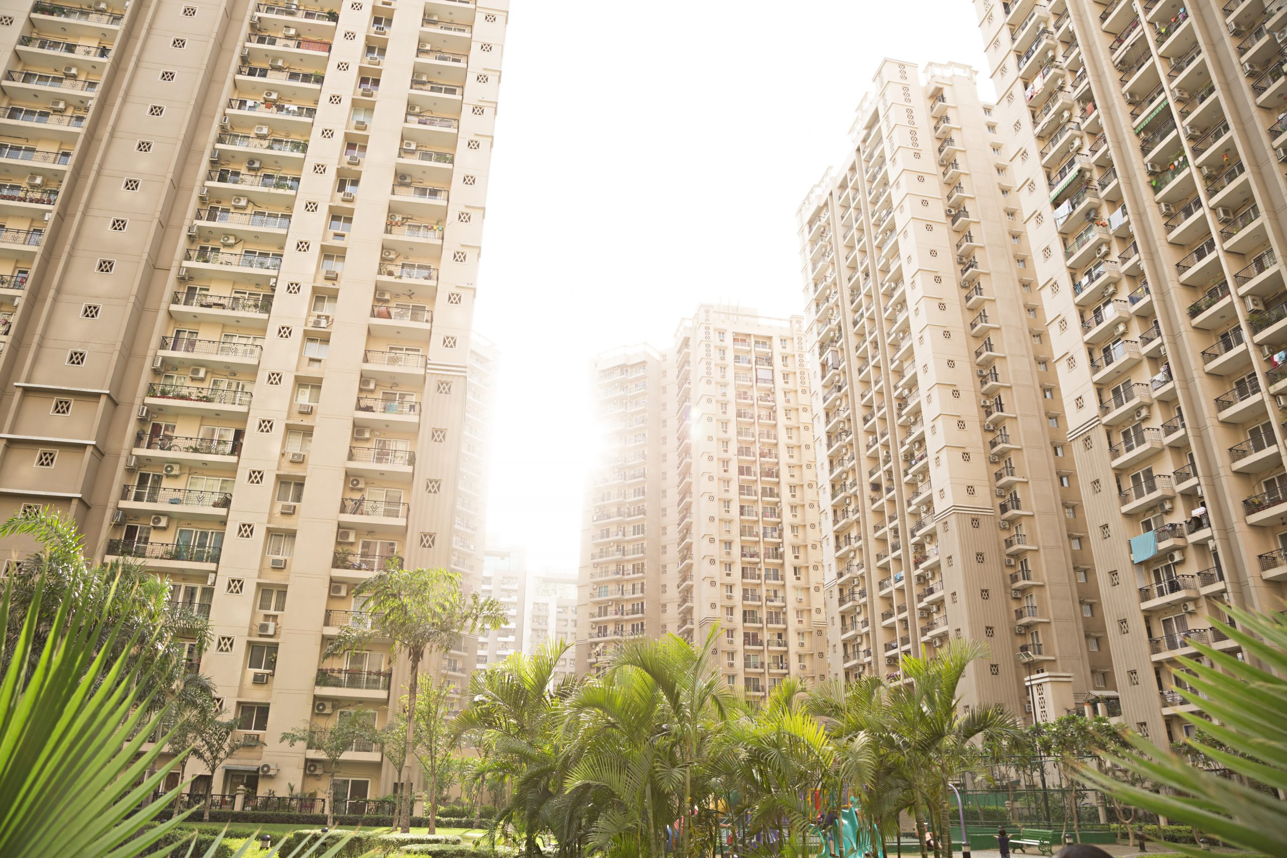 new block of modern apartments stock image
